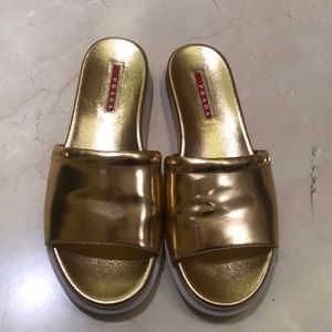 Leather Prada Gold Slides